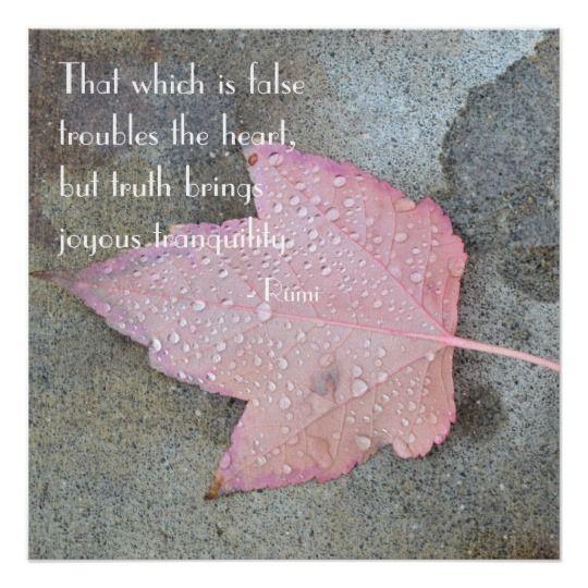 Rumi Quote Pink Leaf Poster   Zazzle.com