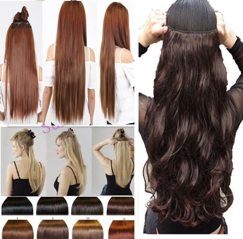 Uk Seller One Piece 34 Full Head Clip In On Hair Extensions Real As