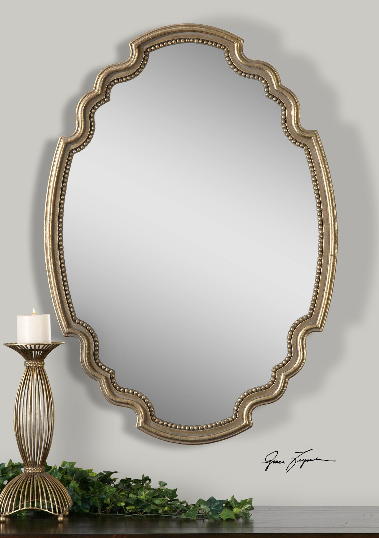 Decorative Gold Mirrors. Terelle Wall Mirror Features A Decorative Oval Shape With Delicate Beading  Detail Around Inner Edge Frame Is Finished In Lightly Antiqued Gold Leaf Uttermost English Country Pinterest