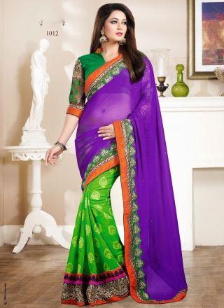 Angelic Green And Purple Designer Party Wear Saree http://www.angelnx.com/
