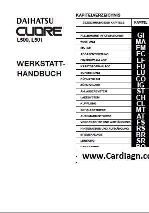 daihatsu cuore l500 l501 service repair manual pdf cuore rh pinterest com daihatsu cuore workshop manual pdf free daihatsu cuore l276 service manual
