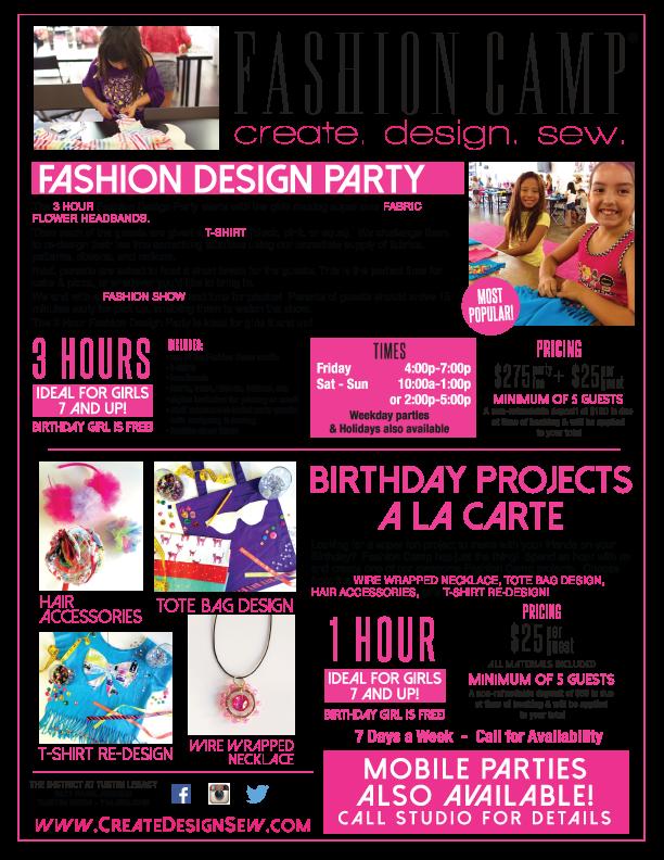 Birthday Parties Fashion Camp Create Design Sew Party Fashion Birthday Parties Fabric Flower Headbands