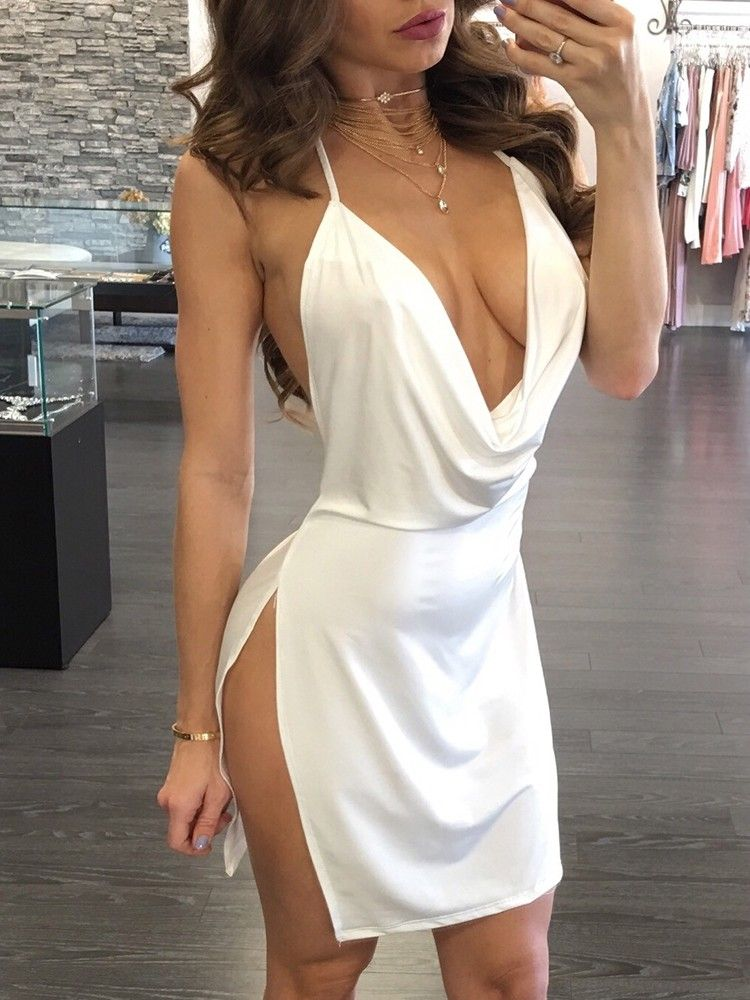 Sexy Backless Halter Neck Plunged Dress  e3e04413d