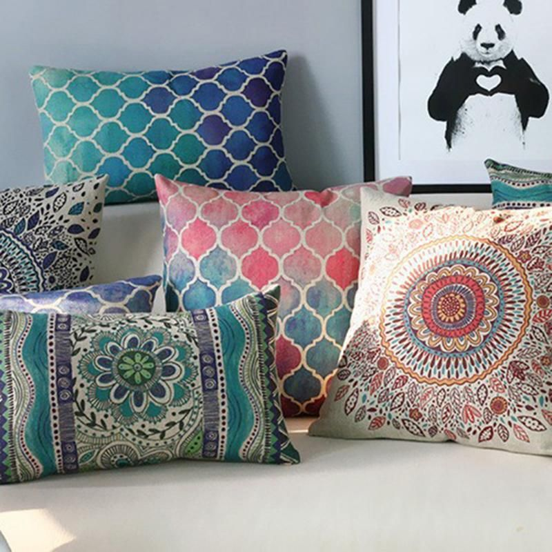 Nordic Geometry Abstract Creative Linen Pillow Case Waist Throw Cushion Cover