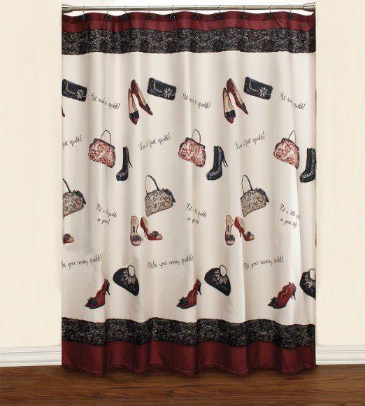 Saturday Knight Chantilly Diva Fabric Shower Curtain Beige Black