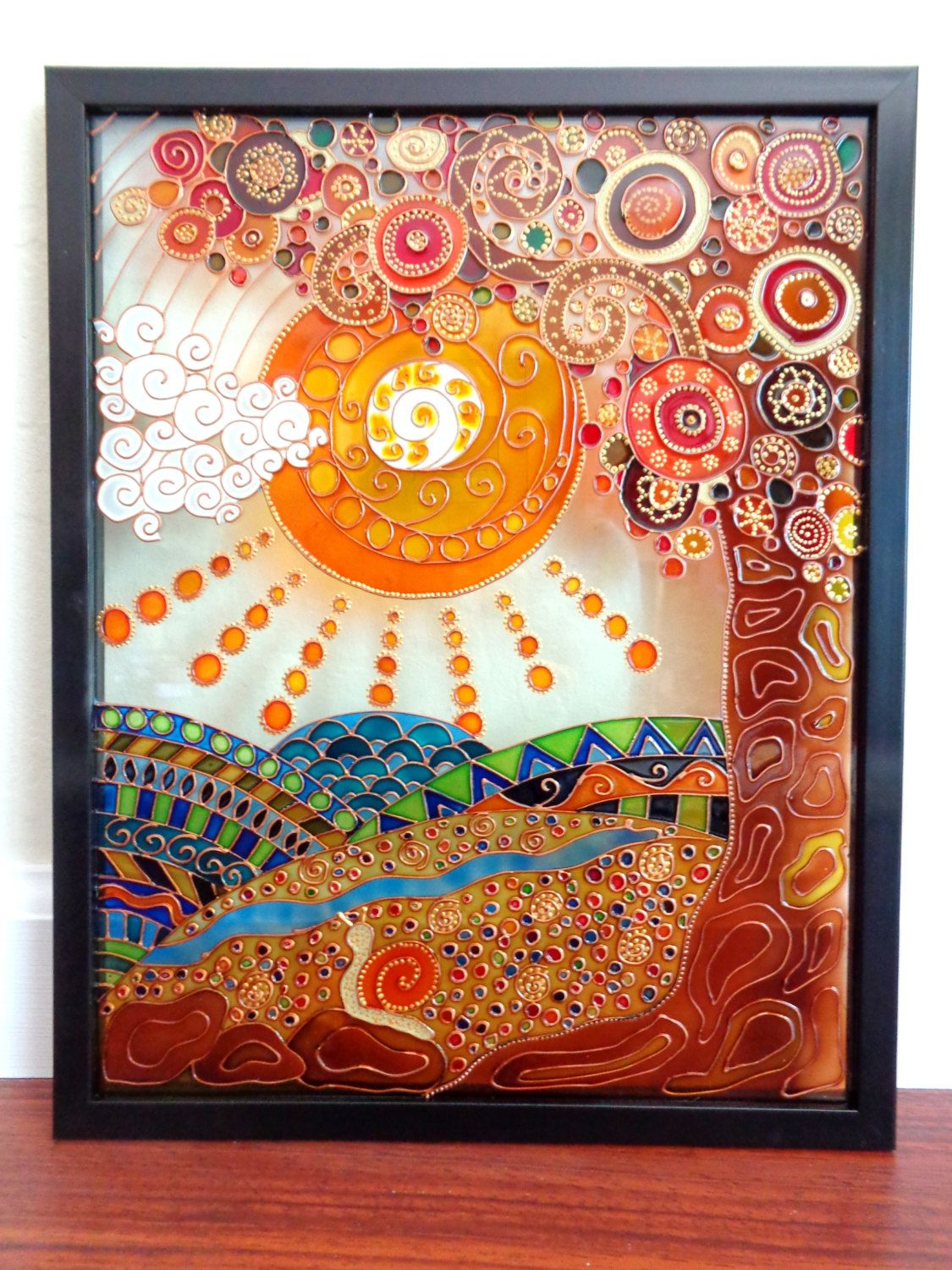 Tree Of Life Art Gl Painting Wall Hanging Panel By Cozyhome1 On Etsy
