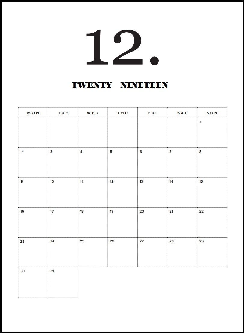 Calendrier Destiny 2.Modern Minimal December 2019 Calendar December Calendar