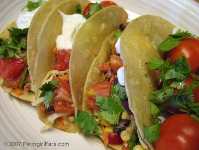 Farmgirl Fare: Three No-Cook Summer Recipes:Mexican Jumping Bean Slaw, Easy Vegetarian Tacos & High Kickin' Creamy Tomato Dressing