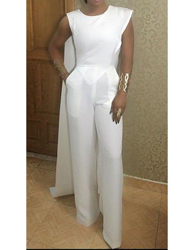 614315d599d9c White Round Neck Sleeveless Slim Wide Leg Pants Jumpsuit With Cape ...