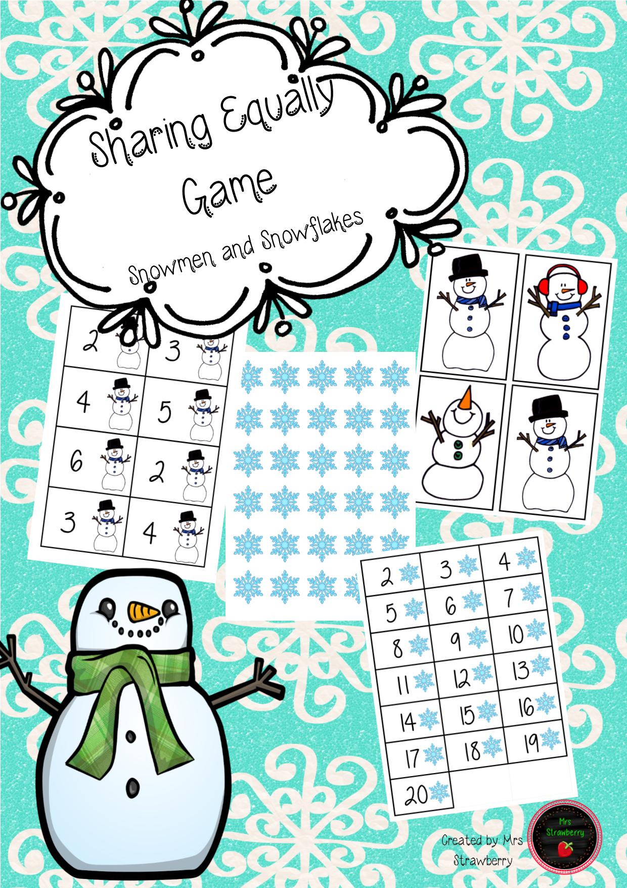 Christmas Sharing Equally Game - Snowmen and Snowflakes | DBT ...