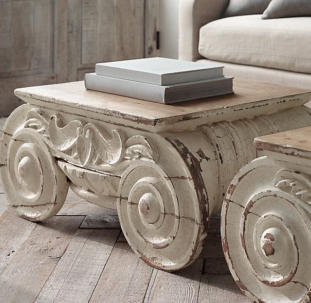 Distressed Ionic Capital Coffee Table Painted Coffee Tables