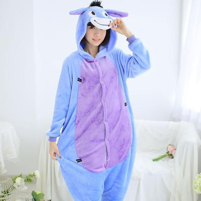 58283a9a236d Women Pajama Flannel panda Unicorn Cartoon Cosplay Adult Onesie For ...