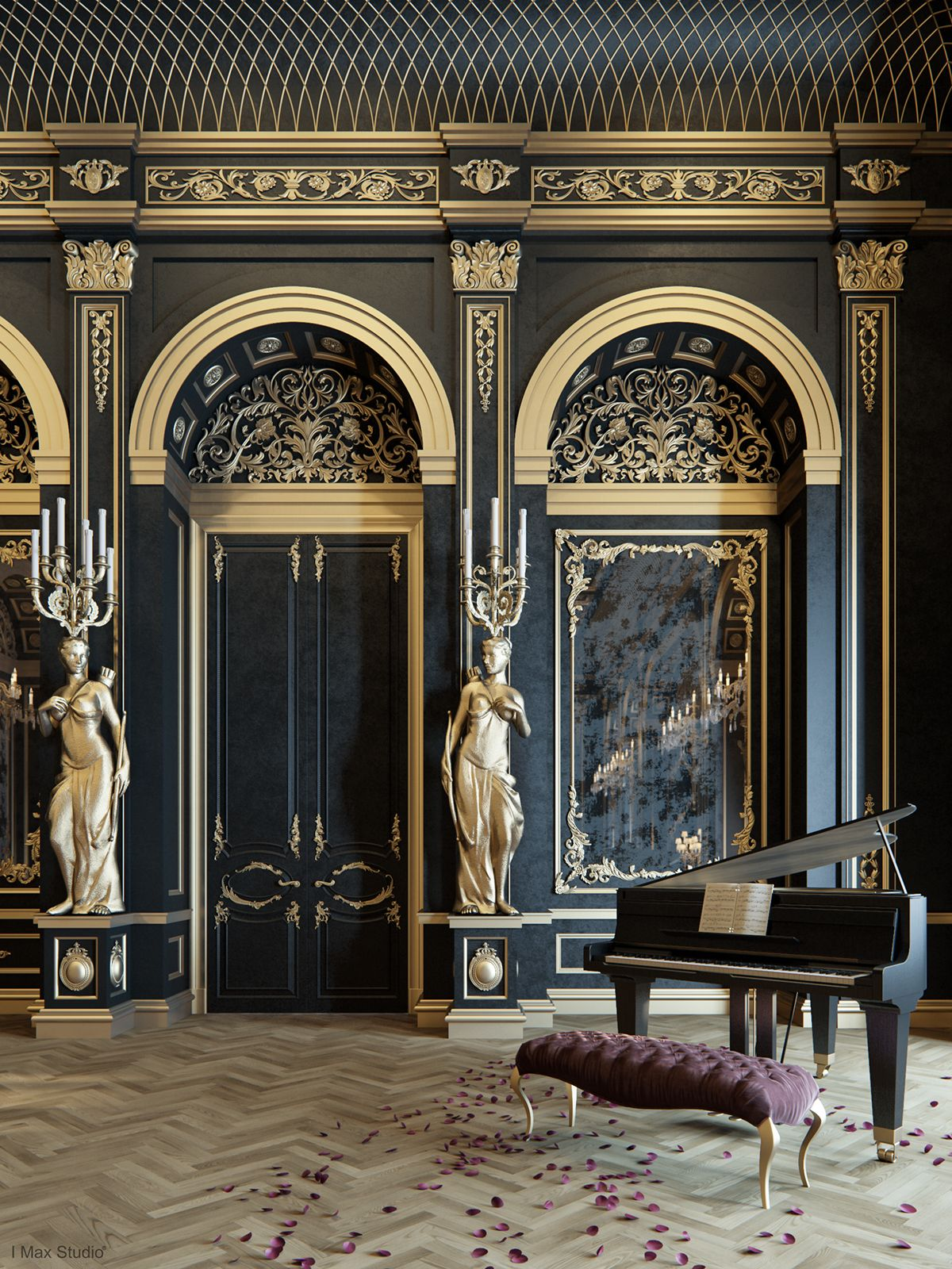 Blackum mixing between gold black color in luxury for Classic chic home interior design digest
