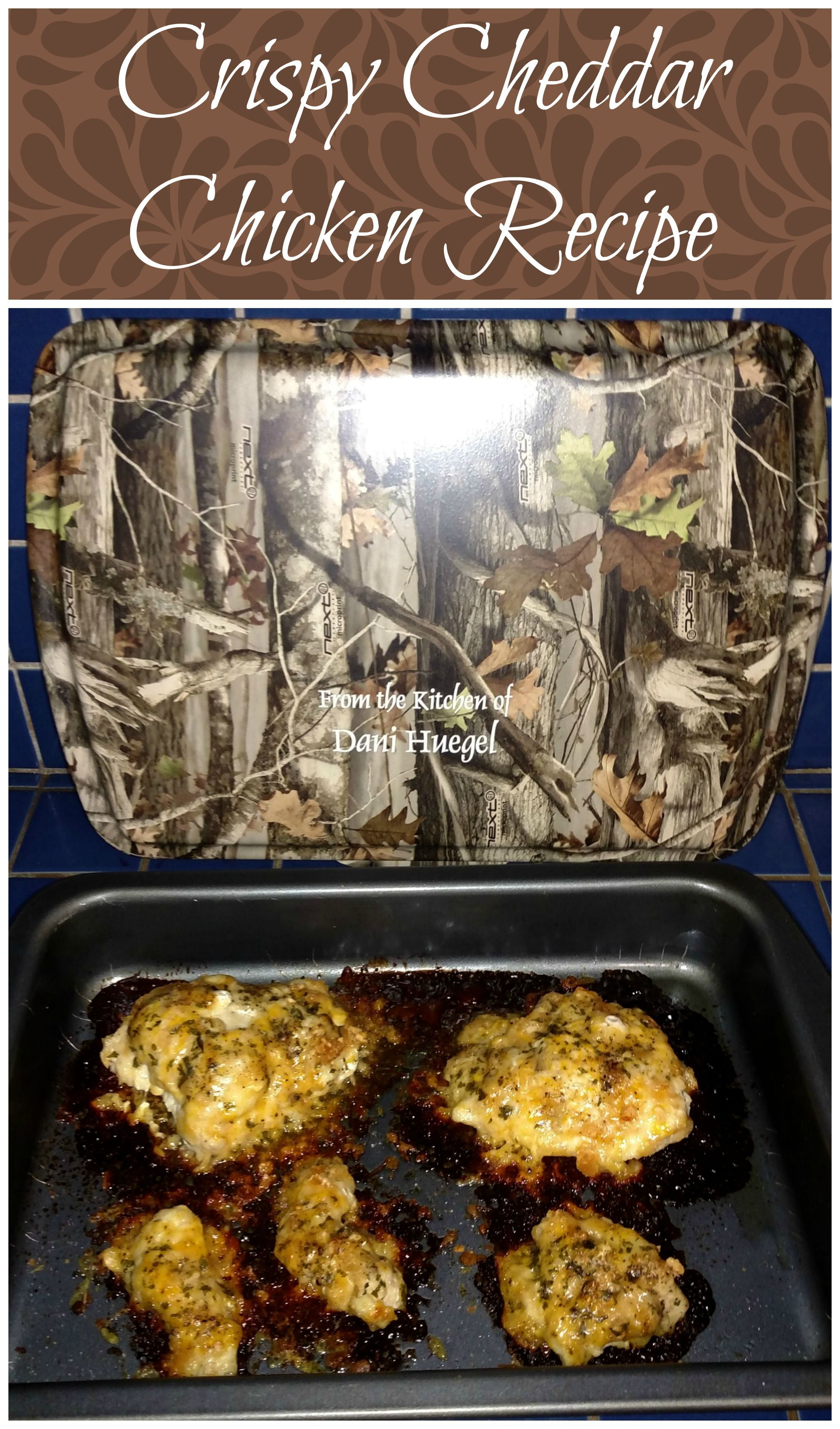 Crispy Cheddar Chicken Recipe with a Cream of Chicken & Mushroom Sauce. Simple and easy and tasty and smile provoking…an all around treasure. Love baking in our Personalized Camouflage 9x13 Non Stick Pan & Lid!