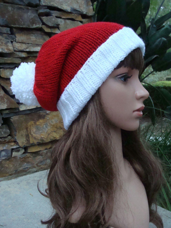 Knit Santa Hat with fold up brim and Pom-Pom, Santa Hat, Size Teen ...