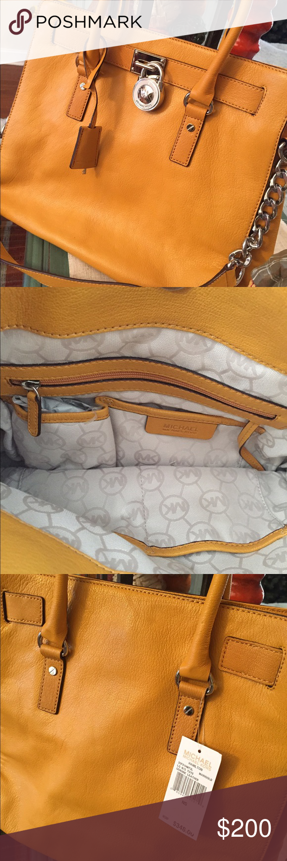 Authentic MICHAEL Kors Mustard Marigold Hamilton💛 Authentic MICHAEL Kors Leather Mustard Marigold Large Hamilton!! New with Tags!! Gorgeous bag! Silver accents. Sold out in stores! 💛 Michael Kors Bags Totes