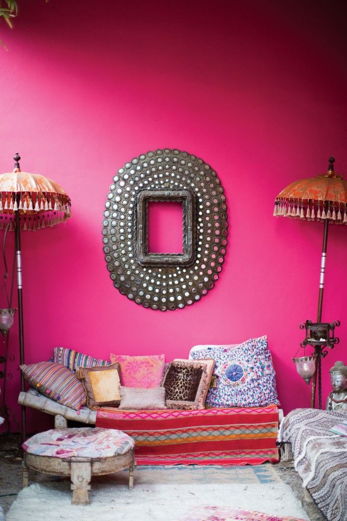 HOT PINK SETS THE TONE FOR THE OUTDOOR ROOM, WHERE BALINESE ...