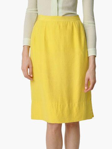 Vintage Yellow Silk Skirt