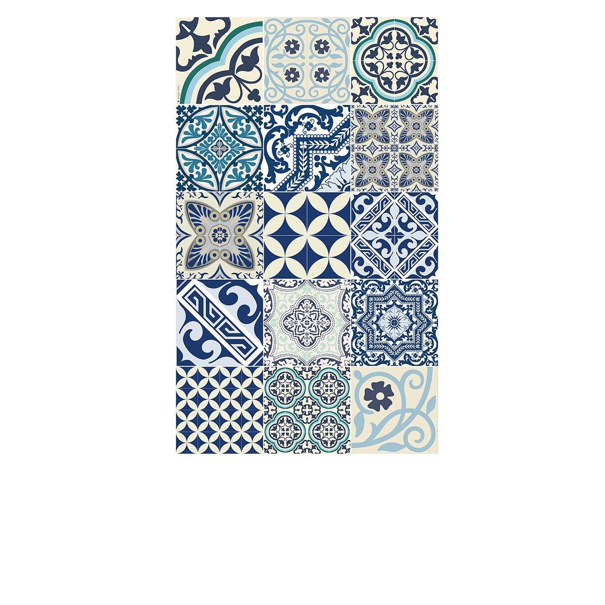 Tapis Vinyle Eclectic Bleu Blanc 60 X 97 Cm Beija Flor