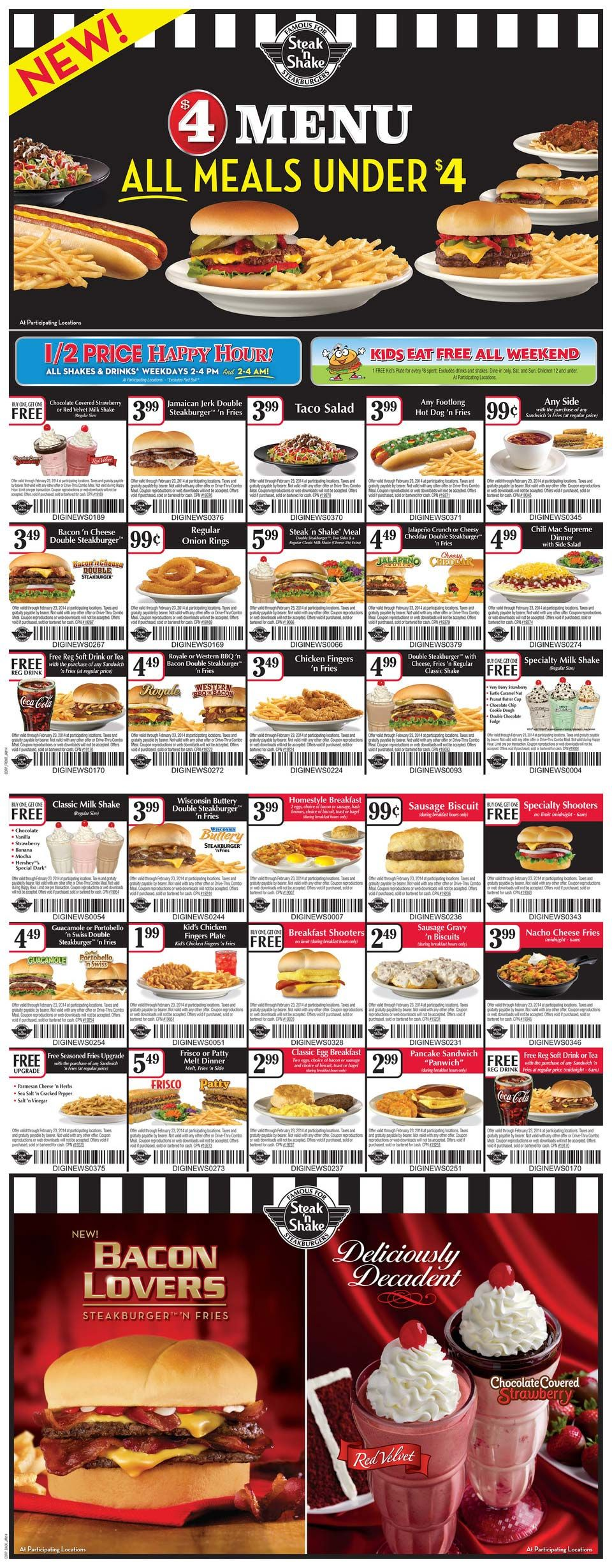 pinned january 7th 2 for 1 burgers and more at steak n shake