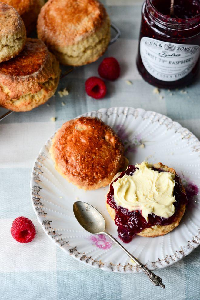 British scones with jam and clotted cream