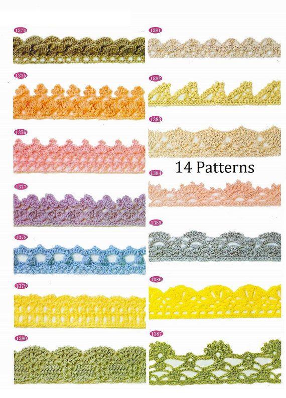 Crochet trim patterns 14 pieces lace edge immediate download JPG ...