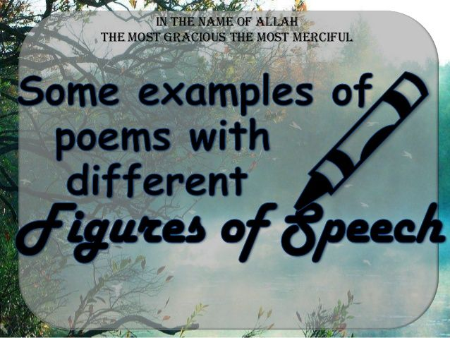 Some Examples Of PoemsPoetry With Different Figures Of Speech