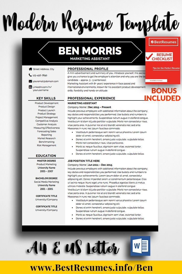 Professional Resume Template Ben Morris - Resume template professional, Business resume template, Teacher resume template, Job resume template, One page resume template, Modern resume template - Professional Resume Template Ben Morris  A modern easy to edit resume template! Stand out with your resume, get the job you've always wanted! Check here