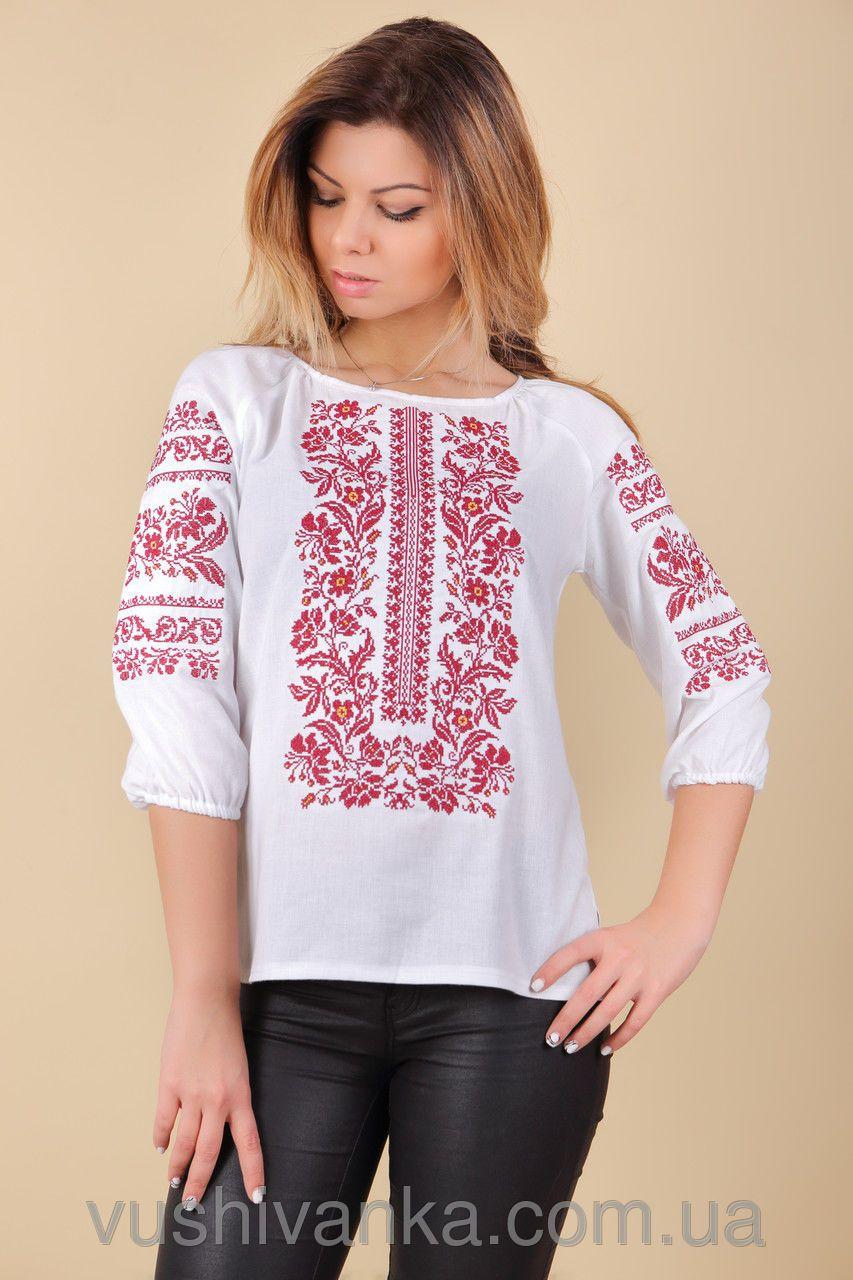 Женская вышиванка с красным орнаментом , фото 1 | Образец ...