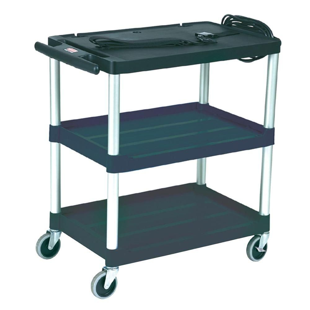 Audiovisual cart with open shelves in black open shelves audio
