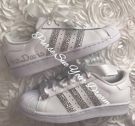 ba1aa34d64025 Swarovski Crystal Design Bridal Adidas Superstar Wedding Shoes ...