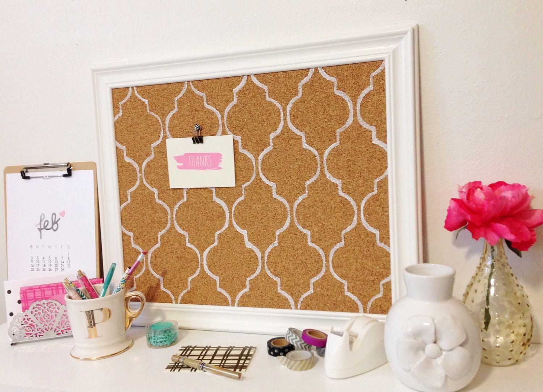 memo cork bulletin board white mediterranean tile pattern framed office wedding decor lattice black tradefare - Decorative Bulletin Boards