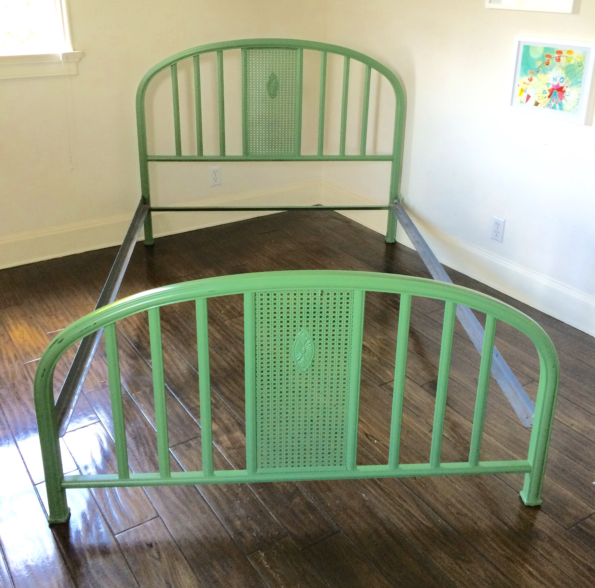 1930s Green Metal Full Size Bed in 2020 Bed frame