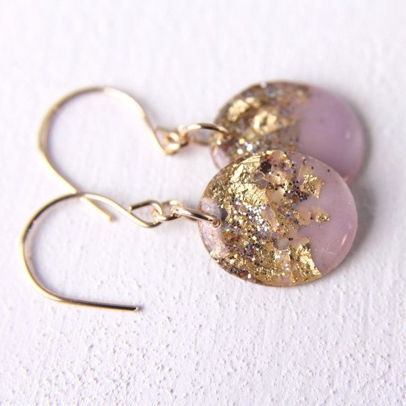 lavender earrings on 14 karat gold hooks gold by tinygalaxies