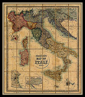 Stanfords map of italy 1845 maps diagrams charts and curiosities stanfords map of italy 1845 gumiabroncs Choice Image