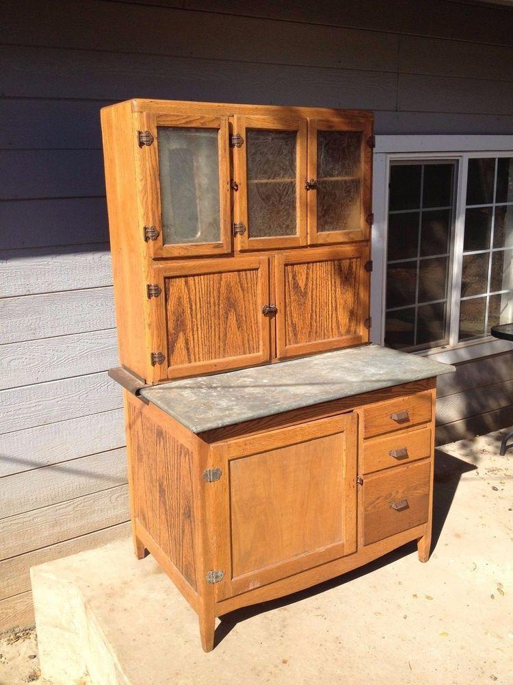 Antique Mcdougall Hoosier Cabinet Quater Sawn Oak Wood Beautiful