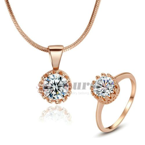 18K Rose GP Swarovski Crystal Rhinestone Wedding Necklace&Ring Jewelry Set S1397 - http://elegant.designerjewelrygalleria.com/swarovski/18k-rose-gp-swarovski-crystal-rhinestone-wedding-necklacering-jewelry-set-s1397/