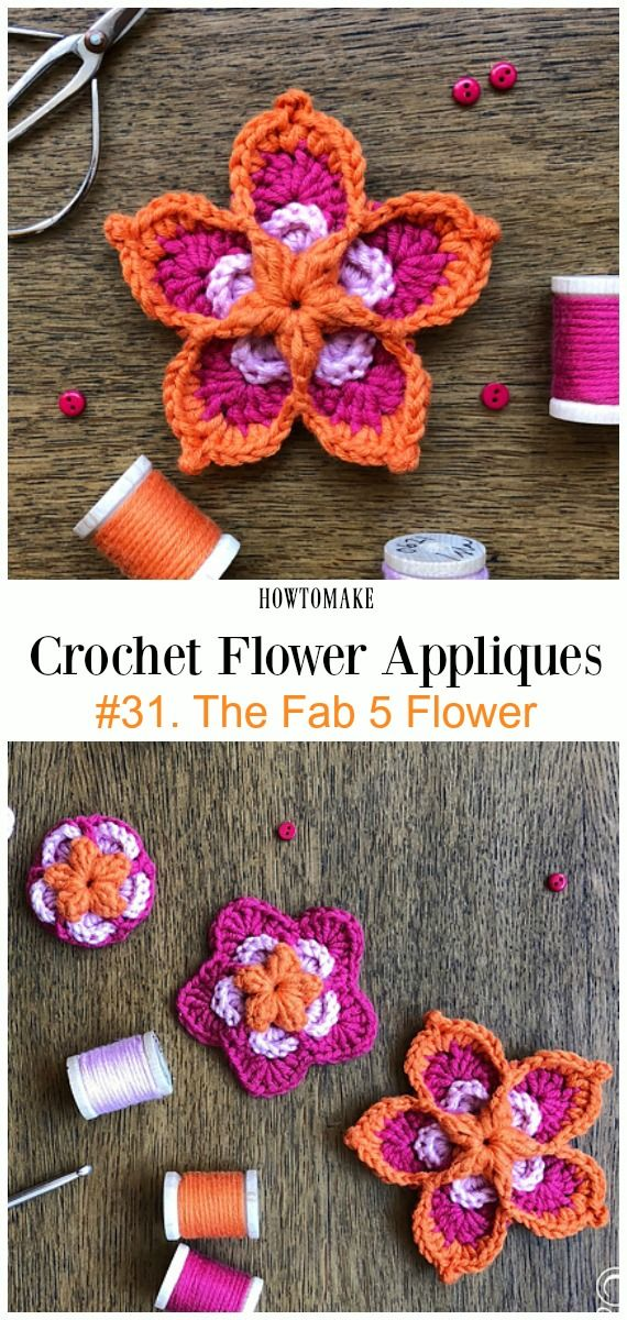 Easy Crochet Flower Appliques Free Patterns For Beginners Yarn