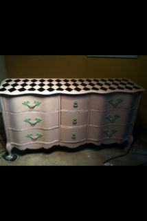 French Provincial Dresser in Pink-        I like the the checked top............