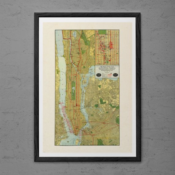 Vintage MANHATTAN Map Print Antique Wall Art Vintage Map Of New - New york city map wall art