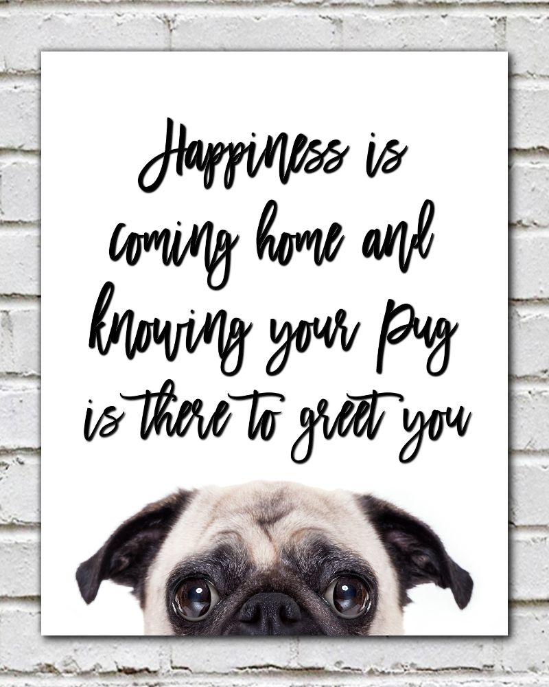 Happiness Pug - pug print, baby pug, animal print, pug poster, wall ...