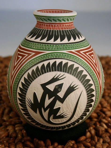 Small Sgraffito Pot Lizard Design - Ortiz Pottery - Martin ...