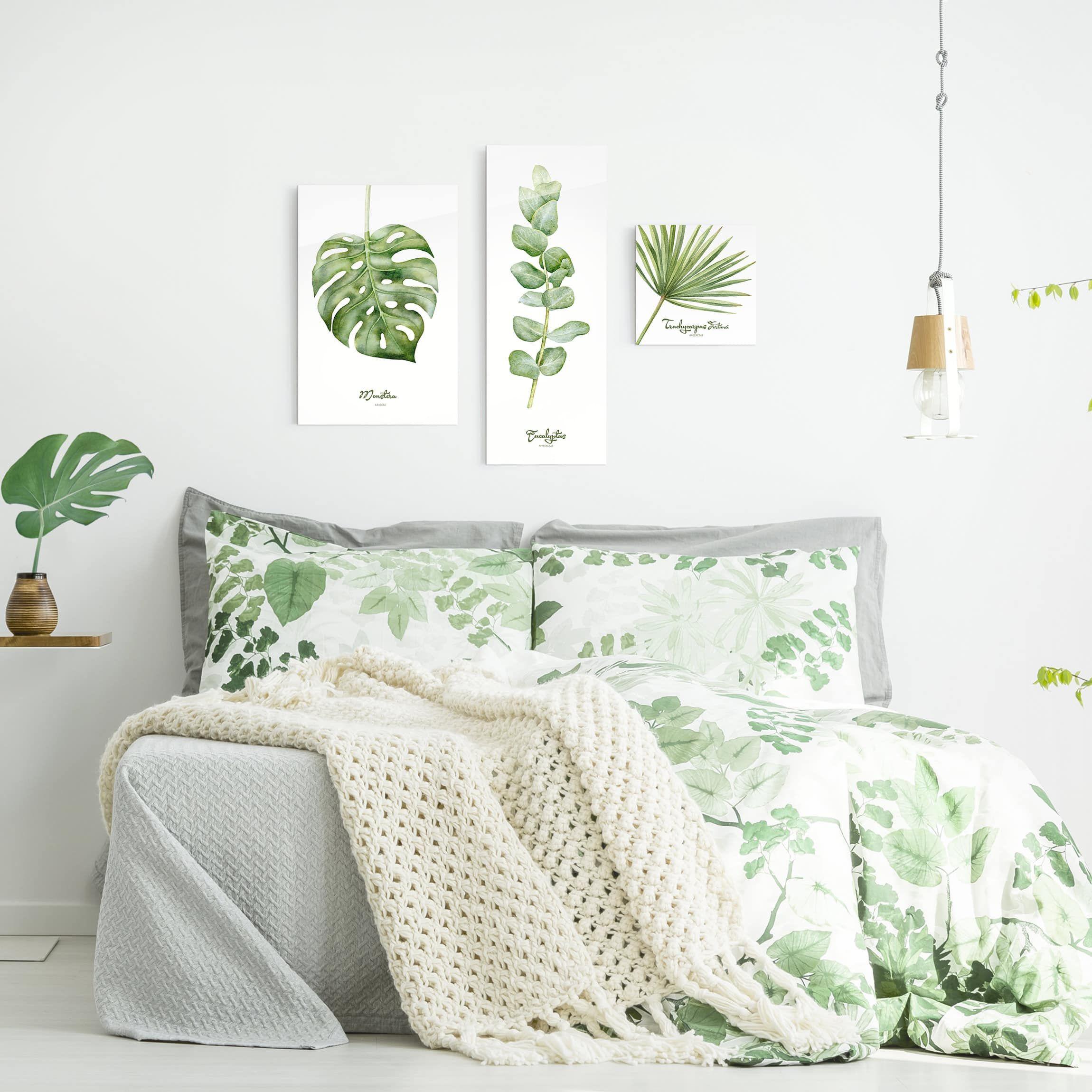 Quadro In Vetro Watercolor Botany 3 Parti Set Nel 2019 Casa