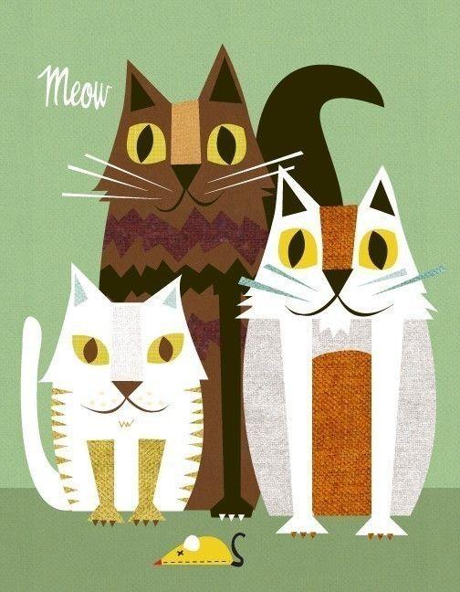 Cat Print on etsy by JennSki