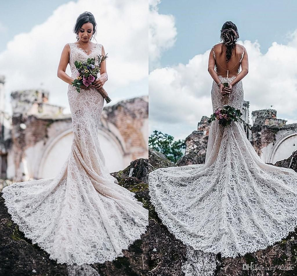 Vintage Crochet Lace Mermaid Boho Garden Wedding Dresses