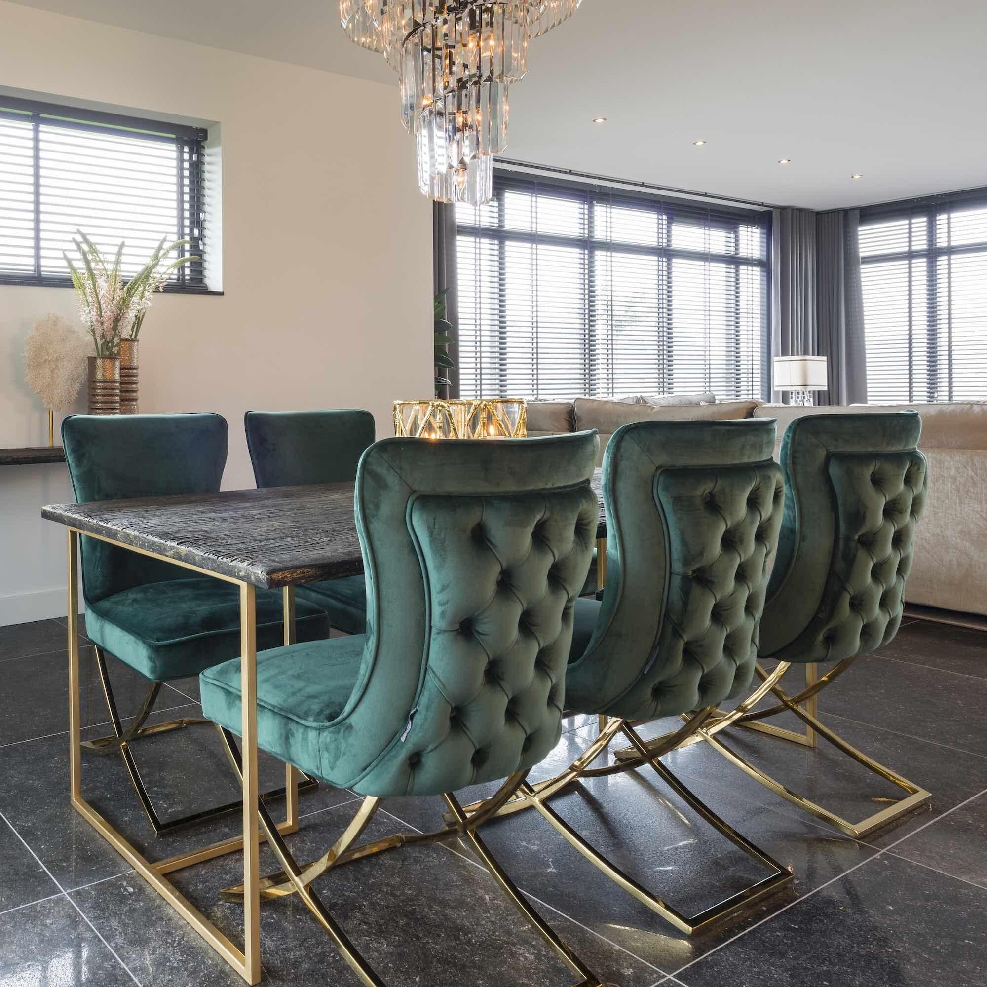 Green velvet modern dining chair in 2020 interior design