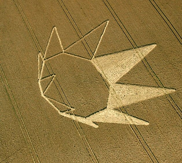 """This crop circle is a ennagono with nine triangles. Has anyone associated with the pictogram of the prophecy given to David Monongye native Hopi Indian, chief of Hotevilla kikmongwi, which states: """"When a nine-pointed blue star will appear in the sky, it will be visible to all and hidden from anyone. When this sign appears, the great earthquake will be on hand. """""""