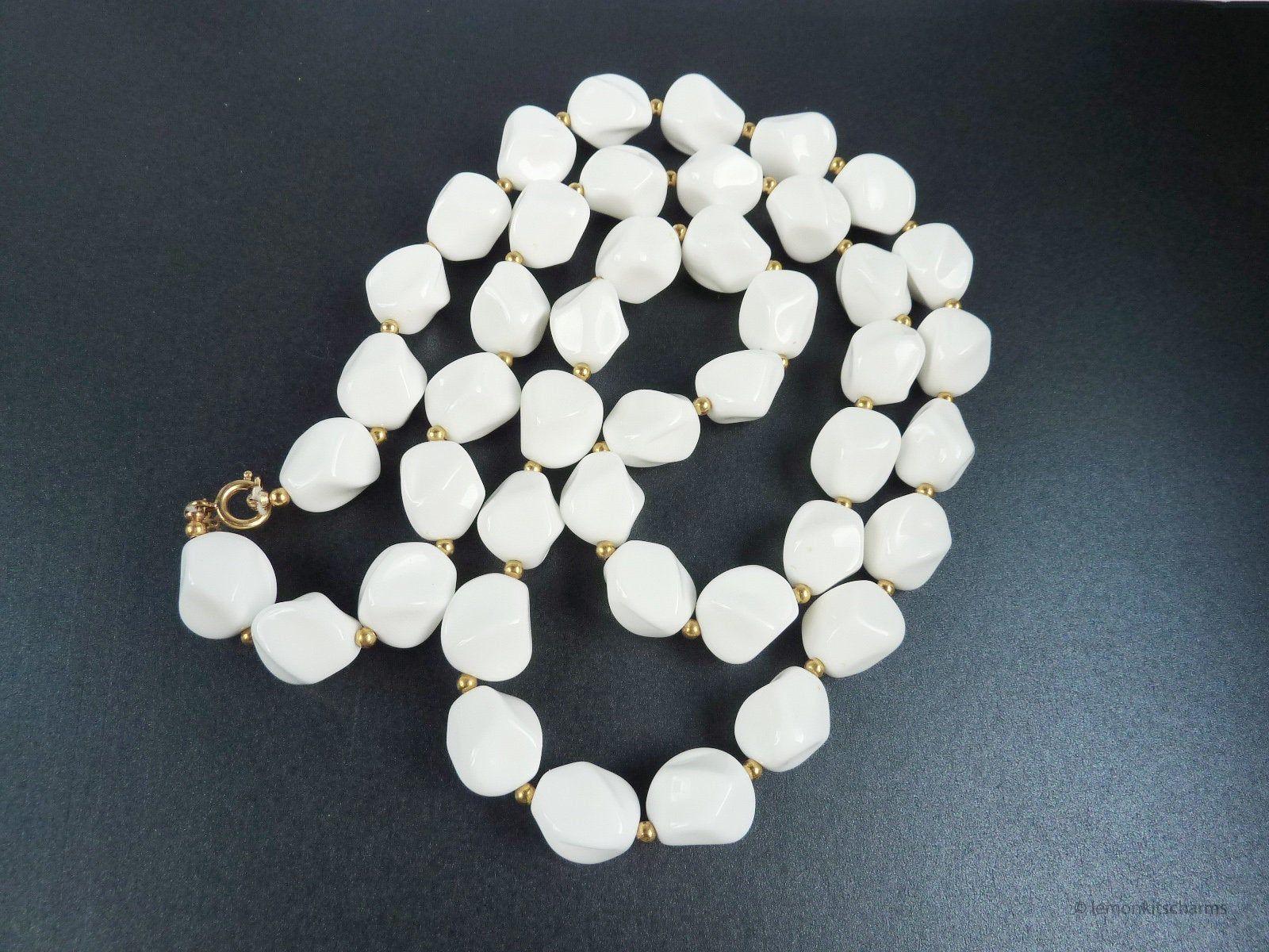 Vintage  white plastic beads