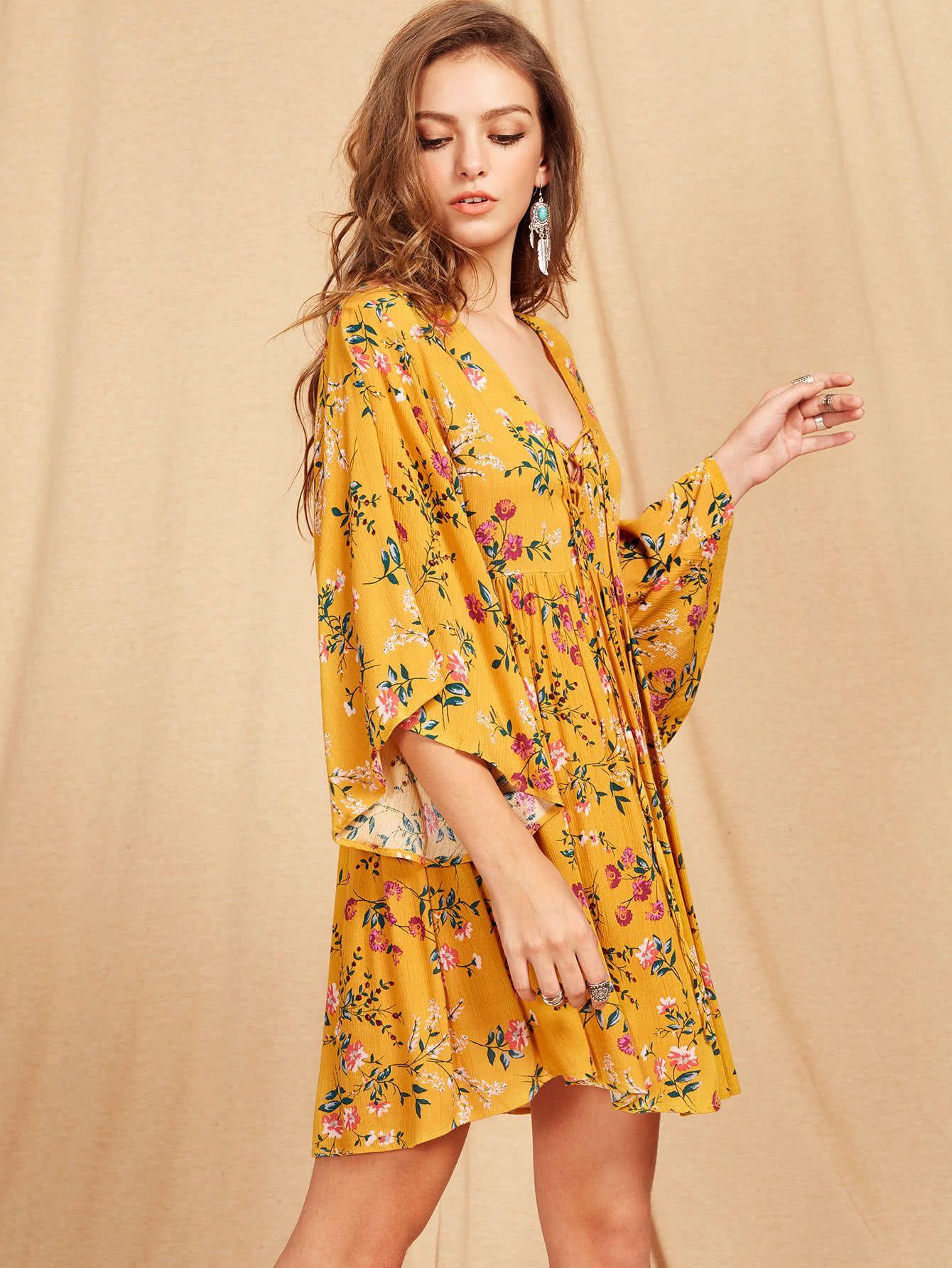 cb8d368093 Lace Up Plunge Neck Kimono Sleeve Botanical Smock Dress -SheIn(Sheinside)