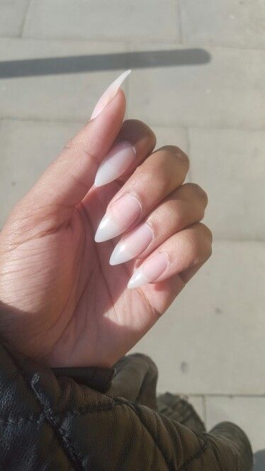 Natural looking stiletto nails | Double Team + Dynamicpunch Clear ...